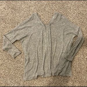 Gray brushed long sleeve top